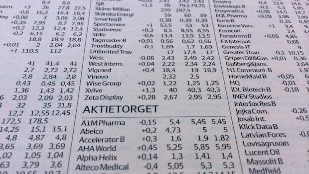Aktienkurse in Tabelle Zeitung
