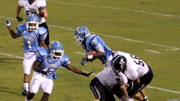 American Football Spieler blau weiß