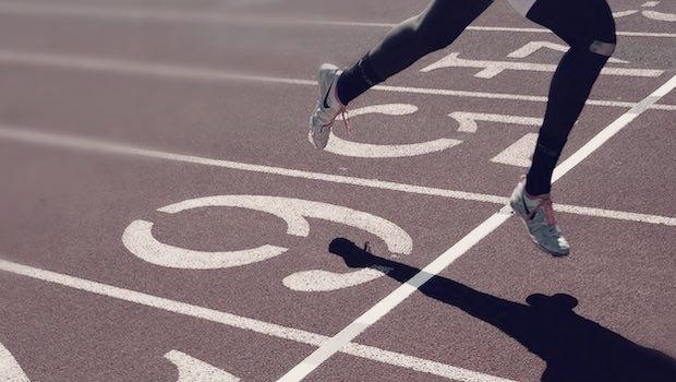 Rennen Beine Zieleinlauf