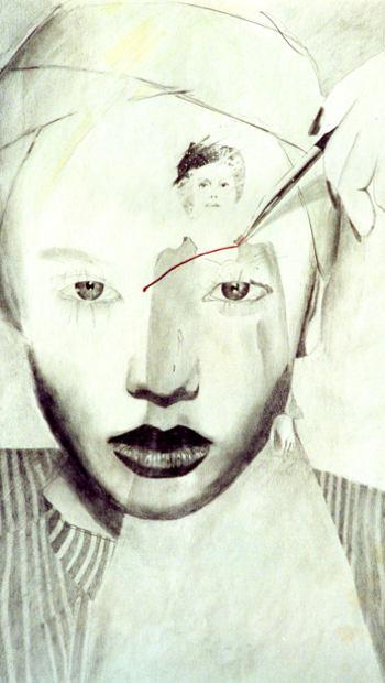 Zeichnung einer Frau mit Selbstverletzung
