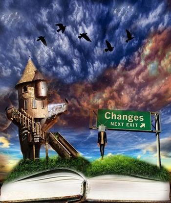 Windmühle, Schild und Mensch auf Buch, Vögel