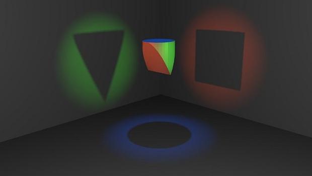 schwebendes Objekt, Dreieck, Kreis, Quadrat