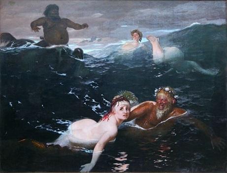 Meerjungfrauen und Männer im Meer