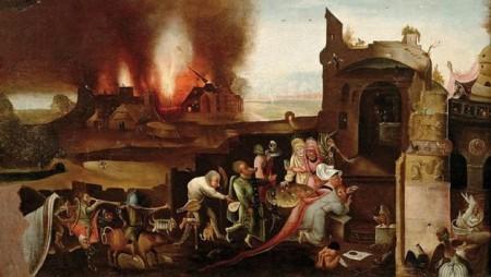 Bosch, brennende Häuser, Menschen vor Ruinen