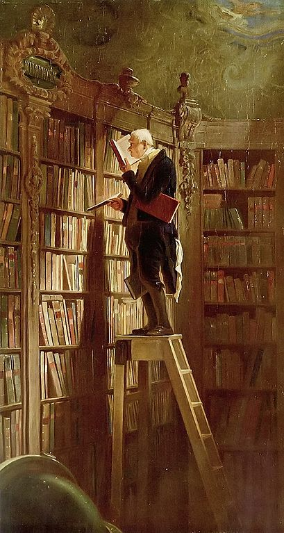 Gemälde Mann auf Leiter vor Bücherwand