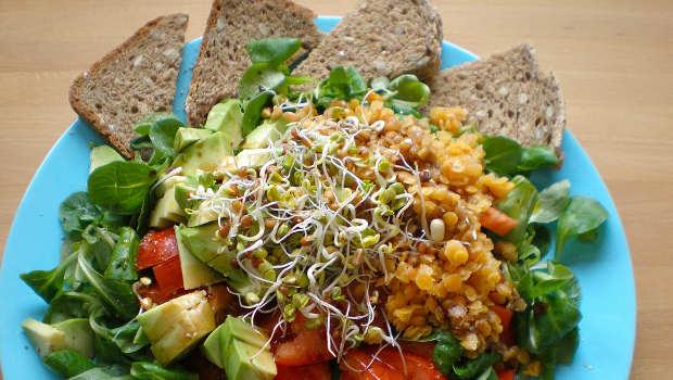 Bunter Salat mit Brot