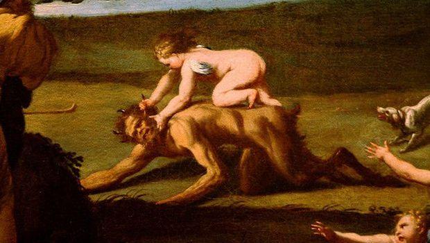 Engel kniet auf Teufel, Gemälde