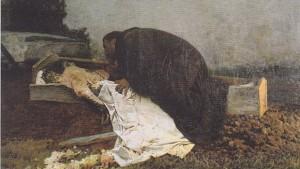 Mann beugt sich über tote Frau, Gemälde