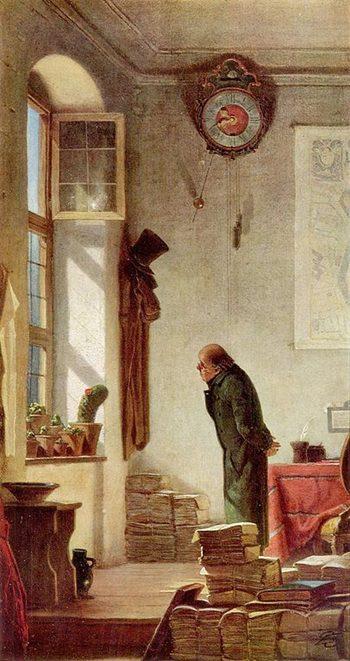 Spitzweg Bild. Mann, Kaktus auf Fensterbank