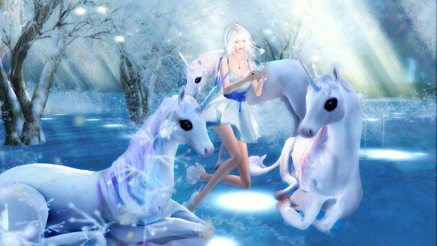 Einhörner mit Mädchen Fantasie