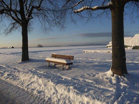Alleinstehende Bank in der Winterlandschaft