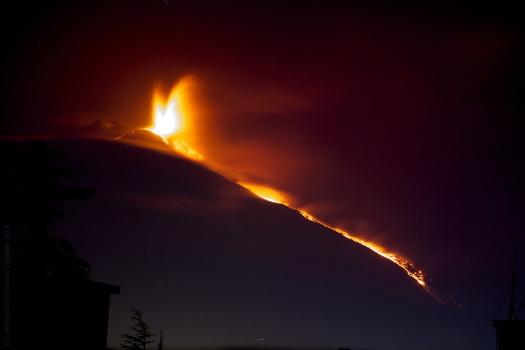 Eruption des Ätna bei Nacht