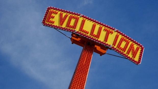 Evolution Schrift gelb orange