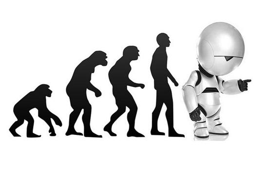 Stilisierte Darstellung der Evolution vom Affen über den Menschen zum Roboter