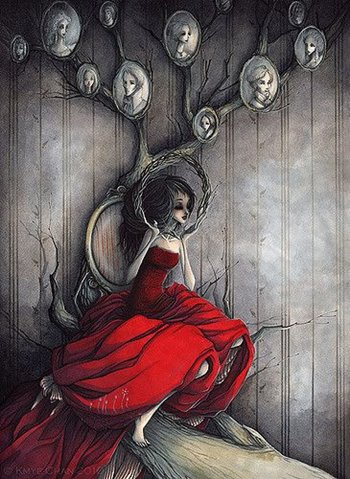 Frau in rotem Kleid, vor Familienbaum, Grafik