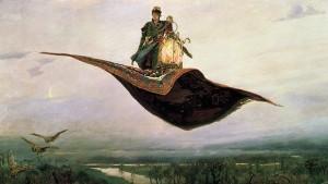 Gemälde von Mann auf fliegendem Teppich