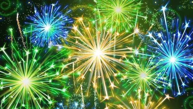 Feuerwerk blau grün gelb