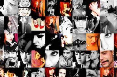 kleine Fotos Gesichter Mann Frau rote Haare