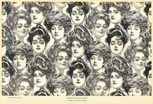Frauengesichter, gezeichnet, schwarzweiß