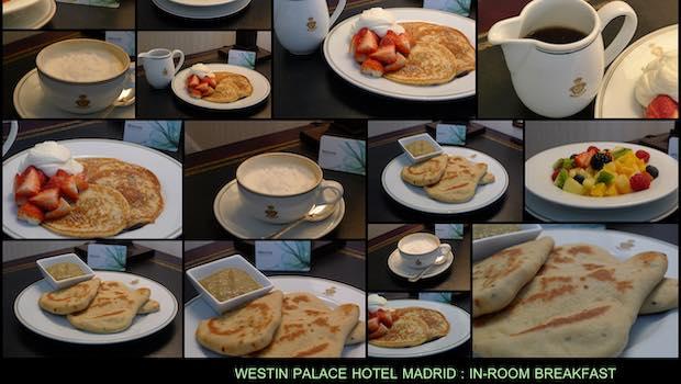 Frühstück auf Hotelzimmer, Pancakes, Kaffee