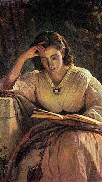 Gemaelde Frau lesend