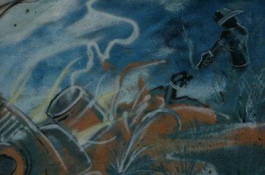 Gemälde, Mann mit Waffe, blau