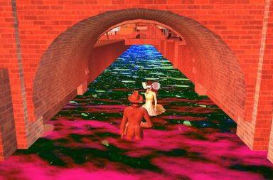 gezeichnet Tunnel Wasser Frau Mann orange