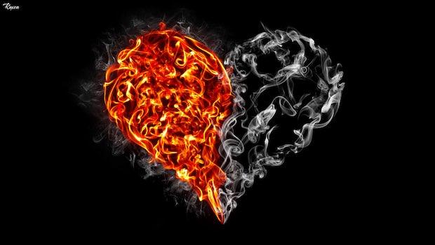 Herz zwei Hälften Feuer und grau