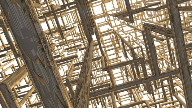 Dreidimensionale Gitterstruktur von innen