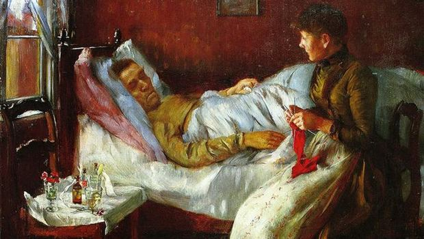 Mann in Bett, Gemälde von Corinth
