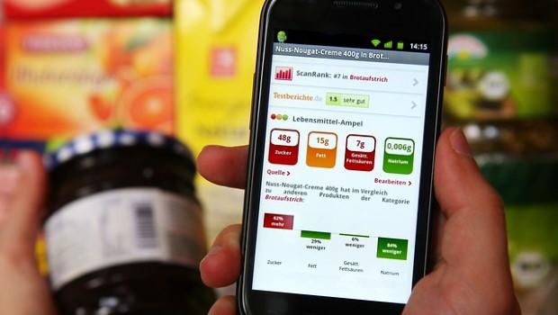 Lebensmittel-Ampel auf Smartphone