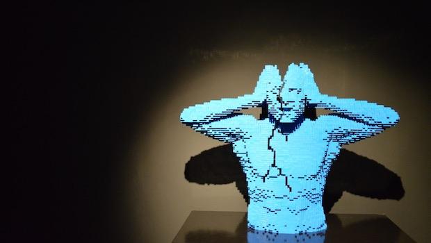 Lego Figur blau Kopf geteilt