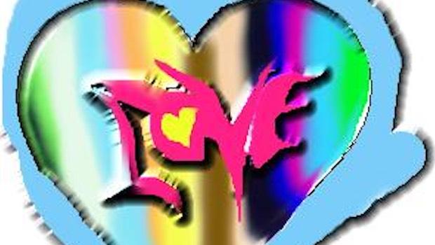 Love Schrift vor Regenbogen-Hintergrund