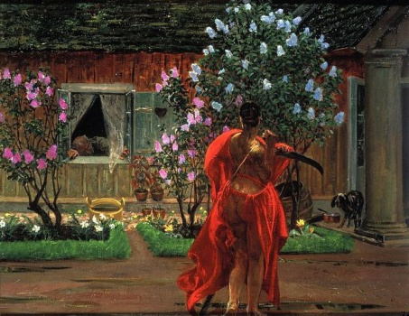 Gemälde, Frau mit Sense, rotes Gewand, rückansicht
