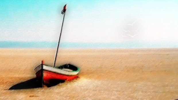 Segelboot auf Sandstrand Malerei auf Leinwand