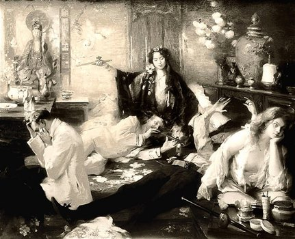 Menschen im Opiumrausch, Gemälde, schwarzweiß
