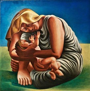 Gemälde von Mutter mit Kind