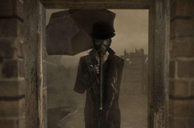 Mann mit Regenschirm und Gasmaske
