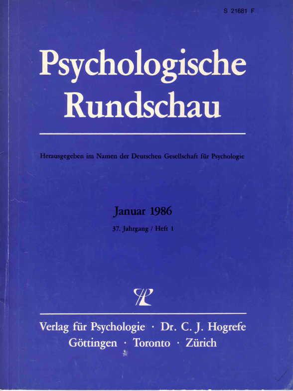 Psychologische Rundschau, Ausgabe Januar 1986