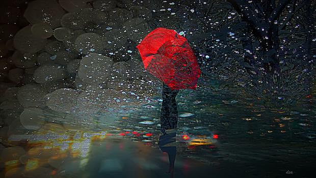 roter Regenschirm Frau Sturm