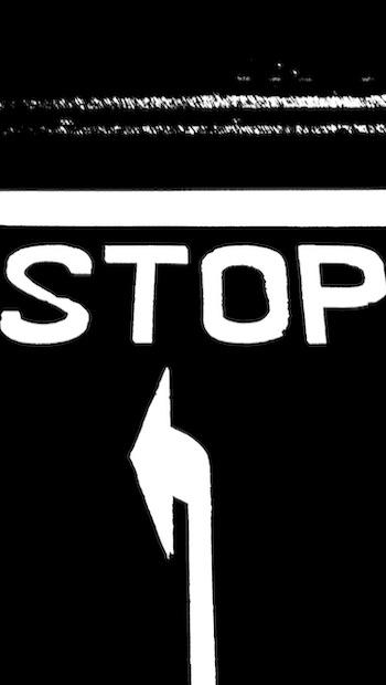 Stop weiß auf schwarz Pfeil Linie