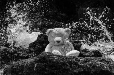 Teddy auf Fels am Meer Wellenspritzer