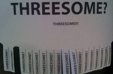 Threesome Schrift Zettel zum Abreißen