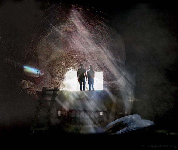 Paar Höhle Totenschädel