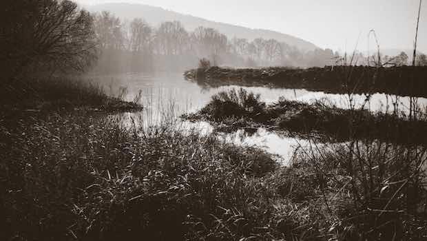 Uferlandschaft schwarz weiß