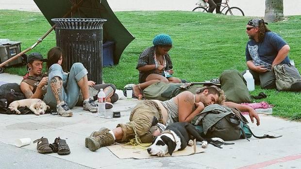 Menschen und Hunde liegen auf der Straße
