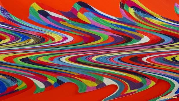 gemalte Wellen auf rotem Hintergrund