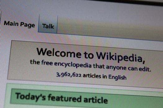 Foto der englischen Wikipadia Startseite