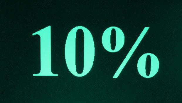 Zehn Prozent, türkis auf schwarz