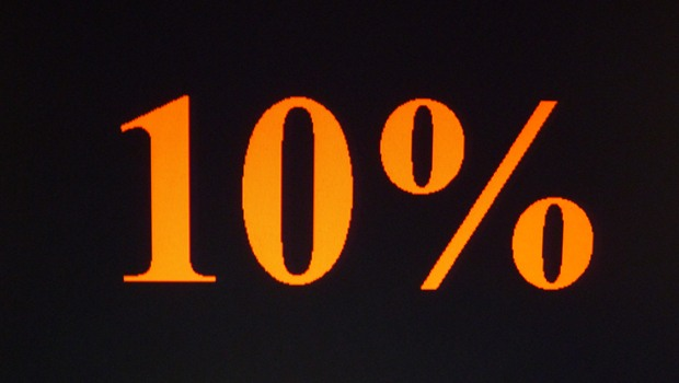 zehn Prozent, orange auf schwarz